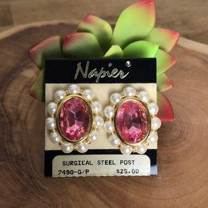 Napier Pink Rhinestone and Pearl Earrings
